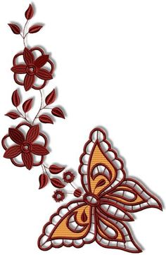 Machine Embroidery Advanced Embroidery Designs - Cutwork Butterfly and Flower Set Cutwork Embroidery, Sewing Machine Embroidery, Butterfly Embroidery, Butterfly Pattern, Free Machine Embroidery Designs, Cross Stitch Embroidery, Advanced Embroidery, Free Stencils, Point Lace