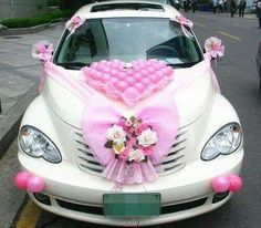 Wedding Car Decoration Ideas in Pakistan Pictures . Through this page you can get latest wedding car decoration tips, ideas, images. wedding car decoration with ribbon and roses are given here. Halloween Car Decorations, Wedding Car Decorations, Birthday Decorations, Wedding Car Ribbon, Wedding Cars, Just Married Car, Bridal Car, Wedding Transportation, Lily Wedding