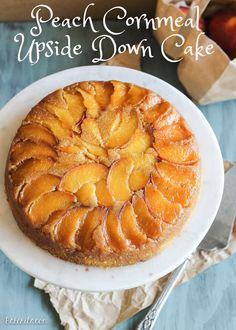Beautiful Peach Cornmeal Upside Down Cake from @Bakerita. Perfect for all those fresh peaches abounding these days.