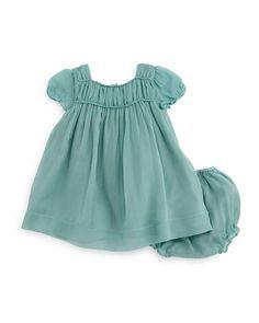 Z1GJZ Burberry Arielle Plisse Silk Shift Dress & Bloomers, Peridot Blue, Size 3M-3Y