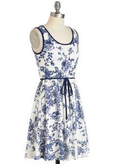 Blue and White China Dress - ModCloth