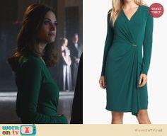 Alex's green long-sleeved wrap dress on Nikita. Outfit Details: http://wornontv.net/24573 #Nikita #fashion