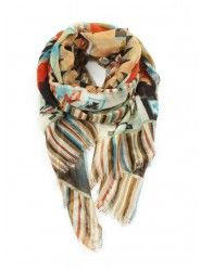 Geo-Phoenix Scarf In Peach $24