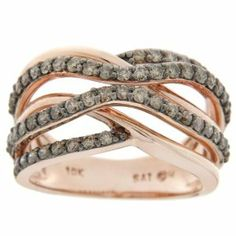 10k Pink Gold Champagne Diamond Crossover Ring (7/8 cttw, I2-I3 Clarity)