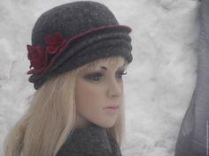 Купить Шляпка    валяная - шляпка зимняя, валяная шляпка, шляпка женская, шапка-шляпка