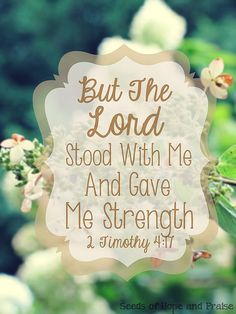 But the Lord stood with me and gave me strength. 2 Timothy 4:17