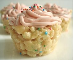 Cake Batter Rice Krispie Cupcakes. Seriously      Ingredients   Rice Krispie Treats   6 tbs margarine* (3/4 of a stick)   3/4 cup yellow cake mix   1/2 tsp vanilla extract   3 cups Rice Krispies   1/2 10oz bag of marshmallows (5oz)   1 tbs sprinkles     Buttercream Frosting   1/2 cup margarine* (1 stick) - room temperature   2 cups confectioners'