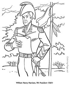 william h harrison us president coloring page