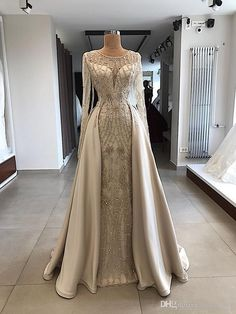 A-line Scoop Floor Length Long Sleeve Prom Dresses Evening Dresses Gold Wedding Gowns, Luxury Wedding Dress, Bridal Gowns, Hijab Wedding Dresses, Muslim Prom Dress, Hijabi Wedding, Muslimah Wedding Dress, Hijab Dress Party, Fall Dresses
