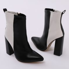 5c6bc6cb1724 Mode Two-tone Ankle Boots in Black and White. Public Desire US