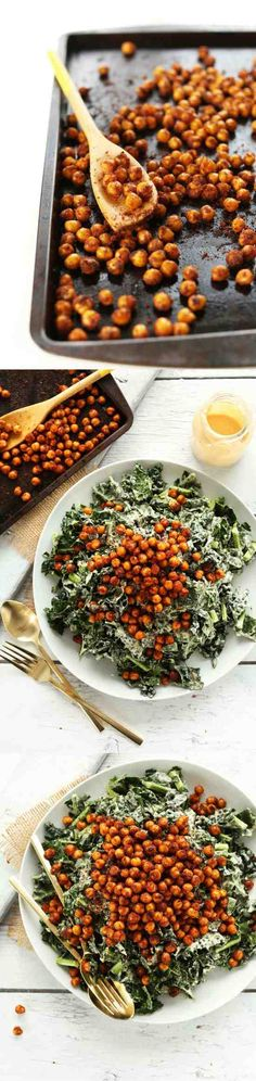 GARLICKY KALE SALAD WITH CRISPY CHICKPEAS - avocado, chickpea, garlic, healthy, recipes, salad
