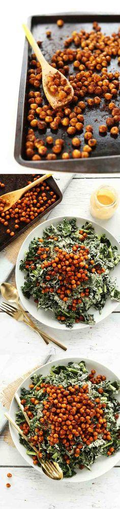 GARLICKY KALE SALAD WITH CRISPY CHICKPEAS - avocado, chickpea, garlic, healthy, recipes, salad