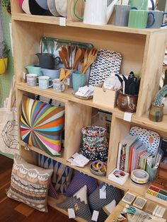 display and totes on side hung on pegboard