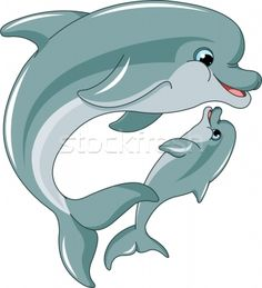 Dolphin mother and baby - ilustração de vetor por Anna Velichkovsky (Dazdraperma) - Stockfresh #882575