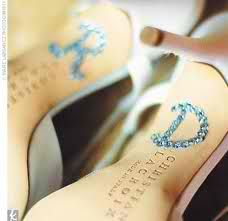 "Cute ""something blue"" idea..glue blue rhinestones to spell out your new initials"