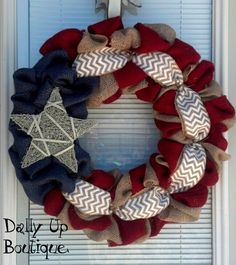 4th of July Wreath-Fourth of July Wreath- Red White and Blue Burlap Wreath-Summer Wreath- Patriotic burlap wreath- by DallyUpBoutique on Etsy https://www.etsy.com/listing/191926215/4th-of-july-wreath-fourth-of-july-wreath
