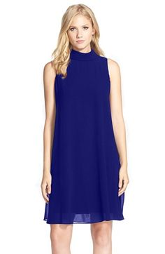 Vince Camuto Blue Mock Neck Chiffon Dress | Nordstrom