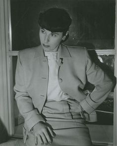 a rare moment Edith Head is not wearing her glasses. the outfit has all the best details, too!