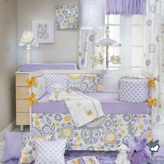 Baby Girl Purple Lavender Yellow Floral Grey Crib Nursery Quilt Bedding Bed Set | eBay trendy family must haves for the entire family ready to ship! Free shipping over $50. Top brands and stylish products
