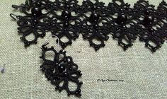 Black lace earrings black earrings tatting lace earrings