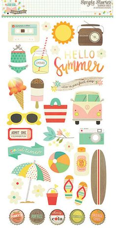 Say hello to summer with the Summer Vibes Collection Chipboard Stickers by Simple Stories. Included in the package are 36 chipboard stickers that come on a 12 Simple Stories, Planner Stickers, Dibujos Zentangle Art, Summer Clipart, Hello Summer, Budget Template, Chipboard, Reno, Printable Paper