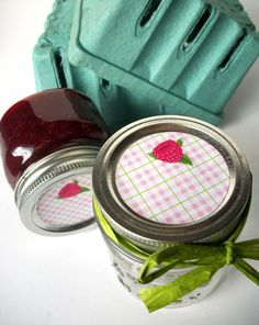 Plaid Red Raspberry Canning jar labels, stickers for jam jars, cottage chic, CanningCrafts, Etsy $4