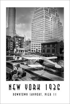Christian Müringer - Historisches New York, Downtown Skyport, Pier 11 New York Poster, Claude Monet, Vincent Van Gogh, Skyscraper, Multi Story Building, Christian, News, Popular Artists, Restore