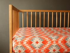 Modern Tribal crib sheet- Coral Grey- Aztec- gender neutral - nursery fitted sheet- toddler bed sheet - Changing pad cover
