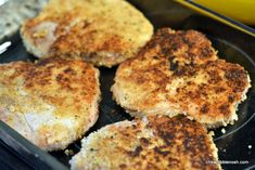 Grandma's Baked Pork Chops 3 - Chew Nibble Nosh (baking steak in oven pork chops) Oven Pork Chops, Breaded Pork Chops, Pork Chop Recipes, Meat Recipes, Cooking Recipes, Dinner Recipes, Recipies, Baked Pork Steak, Pork Steaks