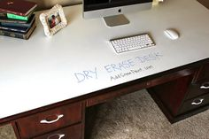 Use dry erase paint on the top of a thrift store desk.  Awesome idea!  Via FleaChic