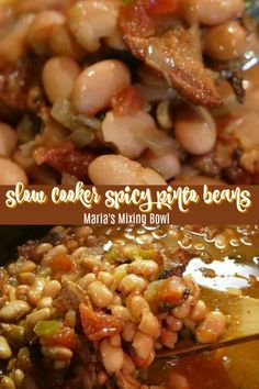 Slow Cooker Spicy Pinto Beans - Spicy pinto beans made in the slow cooker are the perfect side dish for barbecues, potlucks and picnics. Delicious served with a piece of cornbread! Dry Beans Recipe, Beans In Crockpot, Slow Cooker Beans, Slow Cooker Recipes, Crockpot Recipes, Cooking Recipes, Vegetable Side Dishes, Vegetable Recipes, Mexican Food Recipes