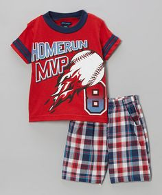 8eee6b53a86 Look what I found on  zulily! Red Plaid  Homerun MVP  Tee