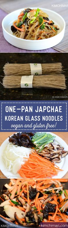 Simple One-Pan Korean Glass Noodles, Japchae! This one-pan Korean Glass Noodles/Japchae recipe is also vegan, gluten free and most of all, just as delicious as the full authentic Japchae recipe. #kimchimari #korean #koreanfood #recipes #koreanrecipe #asianfood #onepan #glassnoodle #noodles #vegetable #beef #glutenfree #cooking