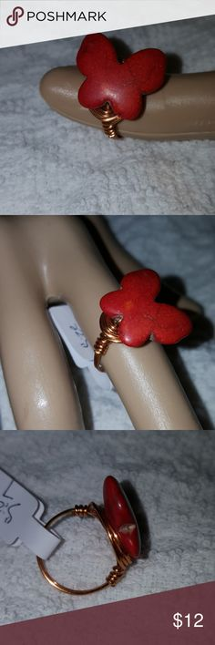 Butterfly stone wrap bronze wire ring. Burnt red/orange in color butterfly stone bright bronze wrap ring Jewelry Rings