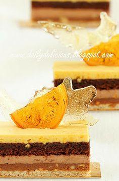 dailydelicious: Valencia: Orange, Chocolate and Nut Entremets, wonderful recipe from chef Sadaharu Aoki Small Desserts, French Desserts, Gourmet Desserts, Mini Desserts, Just Desserts, Baking Recipes, Cake Recipes, Dessert Recipes, Cupcakes
