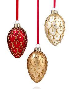 Holiday Lane Christmas Ornaments, Set of 3 Glass Eggs - Christmas Ornaments - Holiday Lane - Macy's