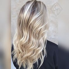 """Another pretty blonde! We did a """"reverse balayage"""" on her! She was already light…"""
