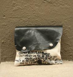RESERVED for Deidre Clutch Handbag leather and canvas par artlab