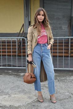 Miroslava Duma mit Gucci Sandalen bei der Milan Fashion Week