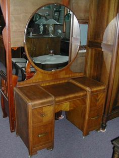 vintage vanity with round mirror. 1920 s Art Deco Inlaid Waterfall Vanity With Mirror 1930 1940 Wood Inlay Dressing Table with Round
