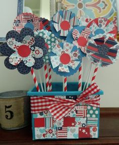 the vintage umbrella: 4th of July paper flowers