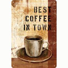Nostalgic Art Best Coffee in Town Metal Kabartmalı Duvar Panosu 20x30 cm