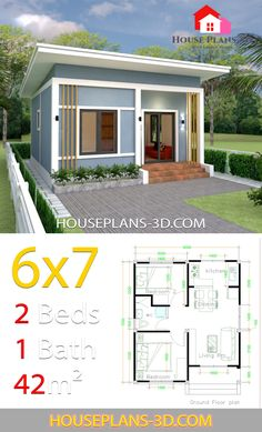 House Design with 2 bedrooms - House Plans can find Small house and more on our website.House Design with 2 bedrooms - House Plans Simple House Plans, Simple House Design, Dream House Plans, Modern House Plans, Tiny House Design, House Floor Plans, House Layout Plans, House Layouts, 2 Bedroom House Plans