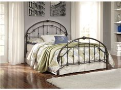 "Shop for Signature Design Queen Metal HDBD/FTBD/Rails, B280-181, and other Bedroom Beds at Bennington Furniture in Bennington VT. B280-181 bed frame made with welded tubular metal in a bronze color powder coat finish and moulded metal accents. B280-181 footboard dimension: 65""W x 4""D x 37""H."