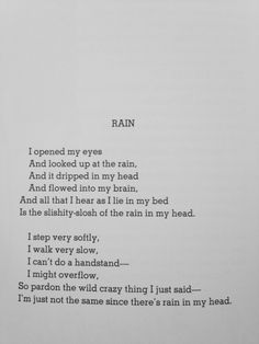 All Things Shel Silverstein : Photo Poem Quotes, Words Quotes, Life Quotes, Sayings, The Words, Pretty Words, Beautiful Words, Rain Poems, Poems About Rain