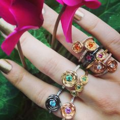 Stacking Rosebud rings in a variety of sizes and color combos by Jane Taylor