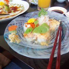 Volcano sushi roll @ kami sushi in Okinawa, Japan.