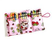 Strawberry Shortcake Crayon Roll holds 15 Crayons Birthday Party Favors