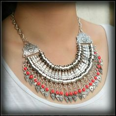 VOGUE BOHEMIAN BOHO TASSEL CHUNKY NECKLACE A retro vogue substantial weight Turkish silver metal bohemian boho tribal tassel collar chain chunky statement necklace with red bead accents. Jewelry Necklaces