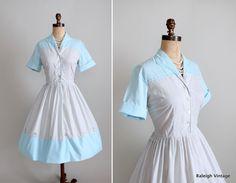 Vintage 1950s 60s Shirtwaist dress.